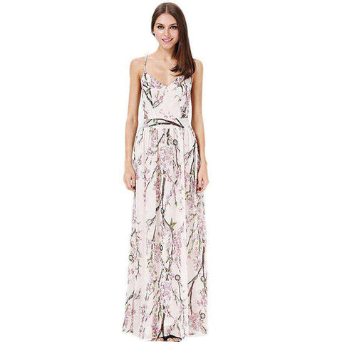 Floral Printing Sleeveless Spaghetti Strap Dress White