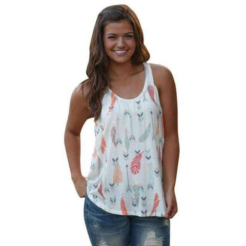 Arrow Printing Women Sleeveless Casual O Neck Tank Top White