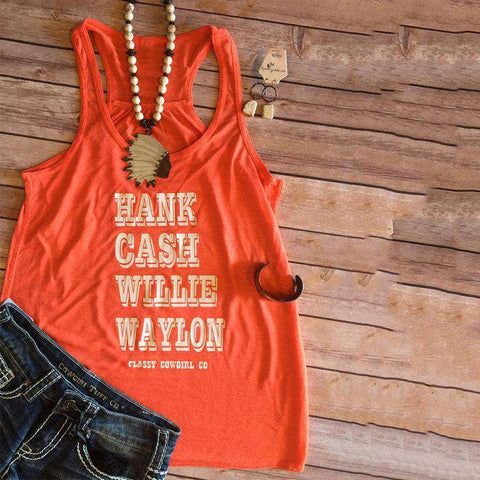 Hank Cash Letters Printing Cropped O-Neck Orange Tank Top