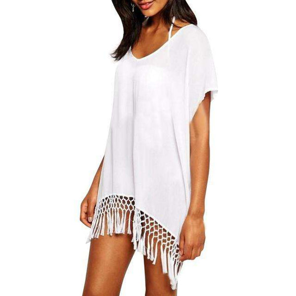 Beach Dress With Tassels Beachwear White Short Sleeves V-Neck Mini Dress