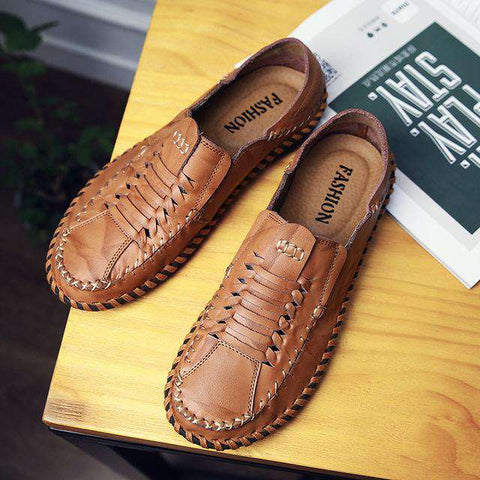 Handmade Men's Leather Flats Slip On Boat Shoes