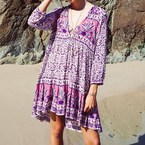 Vintage Floral Print Three Quarter V-Neck Casual Mini Dress Purple