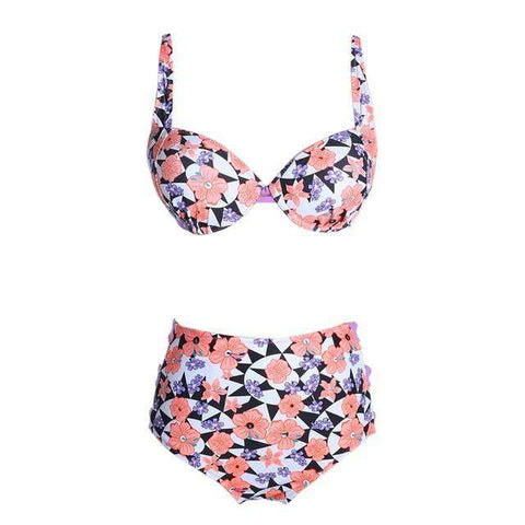 High Waisted Push Up Brazilian Swimming Suit Pink