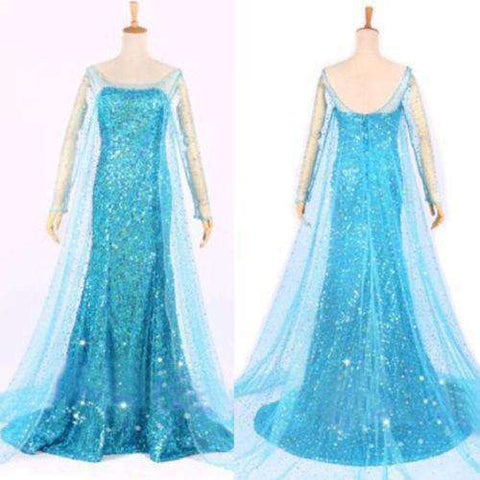 Elsa Queen Princess Adult Women Cocktail Party Dress Costume Elsa Dress Blue