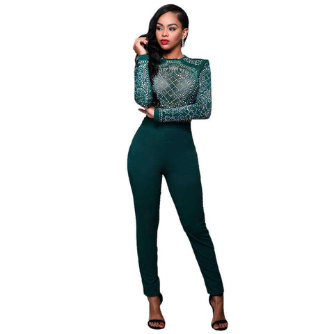 Long Sleeve Mesh Patchwork Geometric Rhinestone Jumpsuit Green