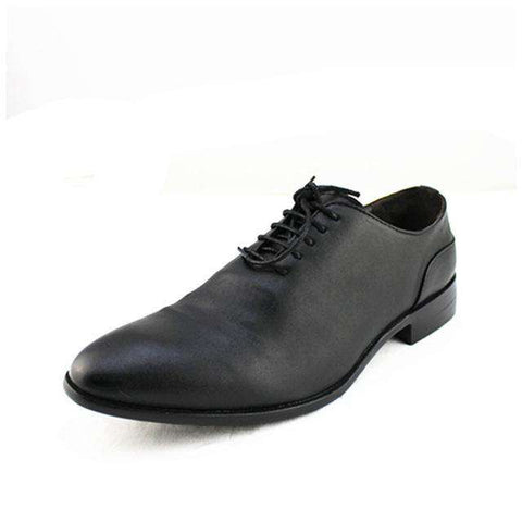 Men's Genuine Leather Lace Up Round Toe Formal White Dress Shoes