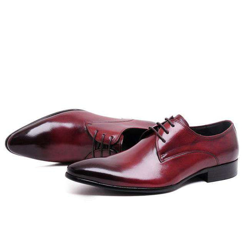 Men's Genuine Leather Lace Up Pointed Toe Formal Dress Shoes Brown
