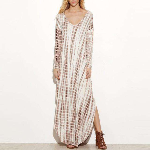 Sexy V-Neck Side Split Vintage Tie Dye Print Long Dress