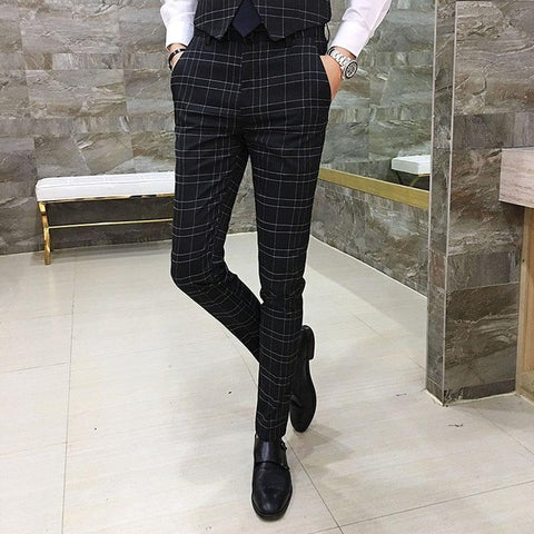 Waistline Men's Casual Long Trouser Slim Fit Flat Dress Pants