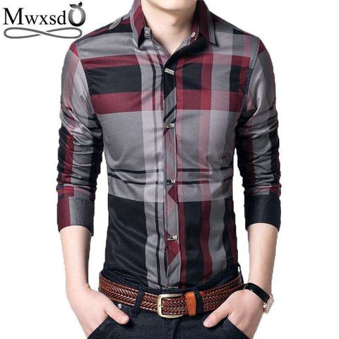 casual plaid Long Sleeve cotton mens shirts