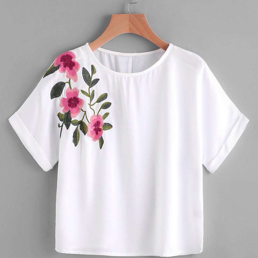 Embroidery Flower Printing Short Sleeve O Neck White Crop Top