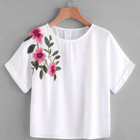 Embroidery Flower Printing Short Sleeve O-Neck White Crop Top