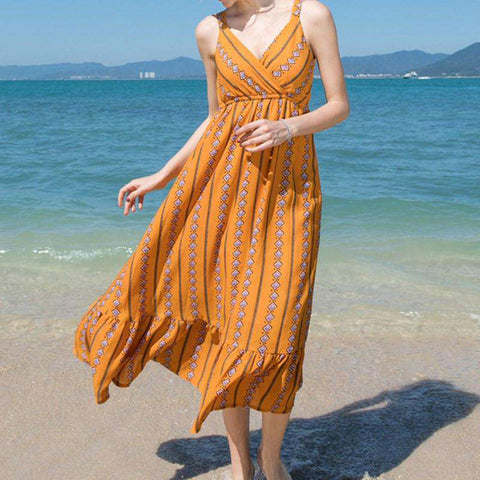 Geometric Print Spaghetti Strap V Neck Elastic Waist Dress Orange