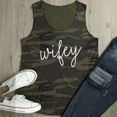 Camouflage Wifey Letter Print O-Neck Sleeveless Casual Green Tank Top