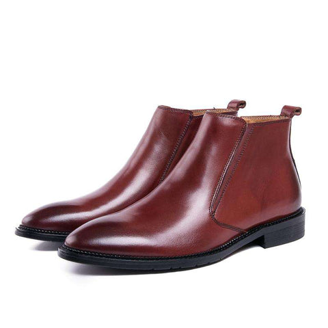 Men's Genuine Leather Zipper Round Toe Boots Brown