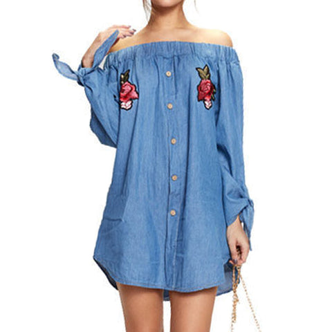 Slash Neck Off Shoulder Long Sleeve Crochet Embroidery Mini Denim Dress