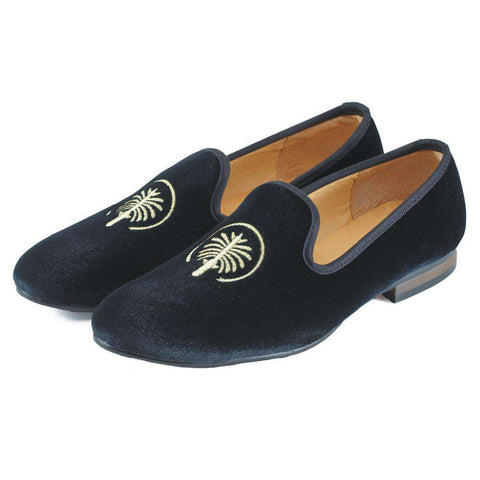 Men's Velvet Slip On Leather Loafers