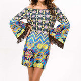 Bohemian Print Off Shoulder Loose Flare Sleeve Slash Neck Beach Dress