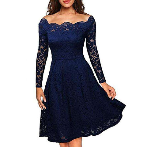 Floral White Lace Long Sleeve Boat Neck Cocktail Formal Swing Dress