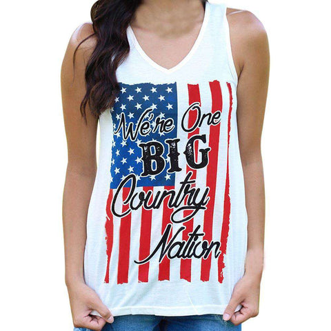 American Flag Letter Printed V neck Sleeveless White Tank Top