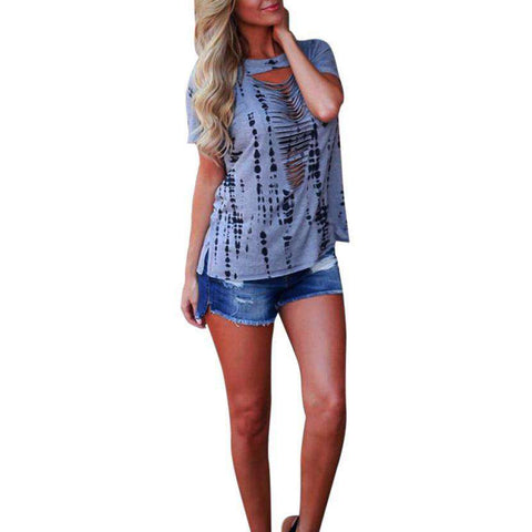 Hollow Out Front Printing Sleeve Grey Women Tank Tops