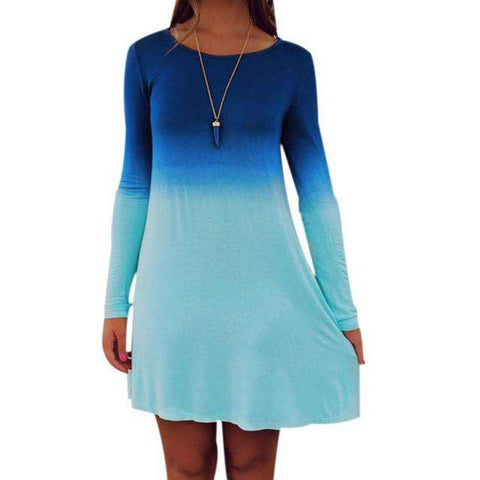 Sexy Women Long Sleeve Casual Loose Gradient Color Short Mini Dress Blue