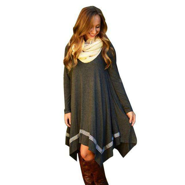 Long Sleeve Irregular Grey Tunic Party Dress