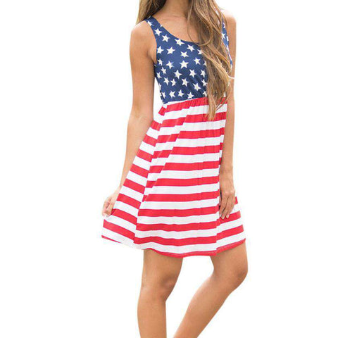 Hot American Flag Printed Sleeveless Fit and Flare Cotton Mini Dress