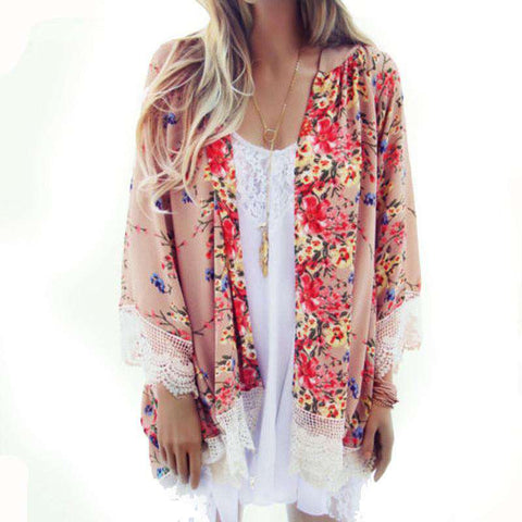 Printed Kimono Cardigan Chiffon Top Cover Up Blouse