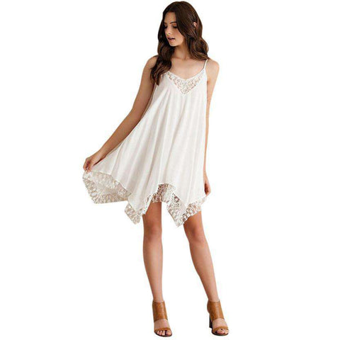 Fashion Party Sling Sleeveless Lace Short Mini Dress Beach Dress White