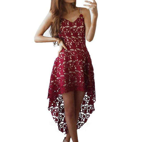 Red Asymmetrical Off Shoulder Backless Lace Dress