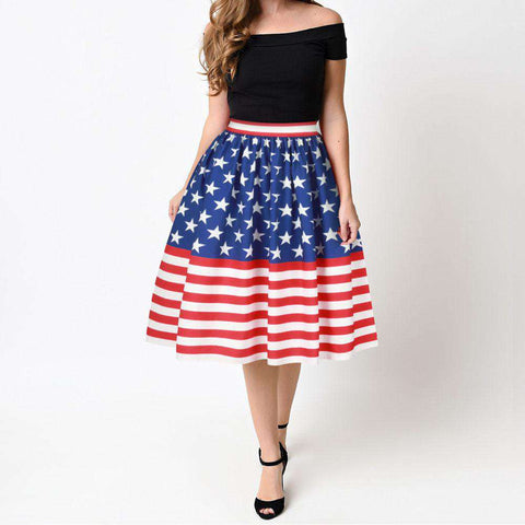 American Flag Printed Midi High Waist Skater Flared Pleated Skirt