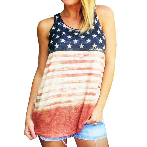 American Flag Causal Cotton O-Neck Red Tank Top