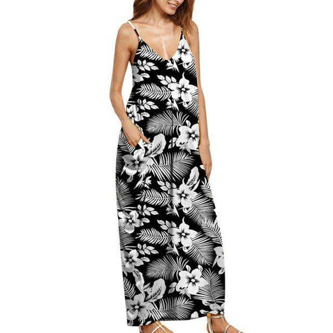 Print Casual Party Sleeveless Ankle-Length Beach Dress Black