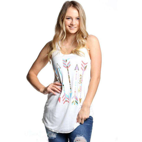 Arrow Printing Tank Tops Women's Sleeveless White