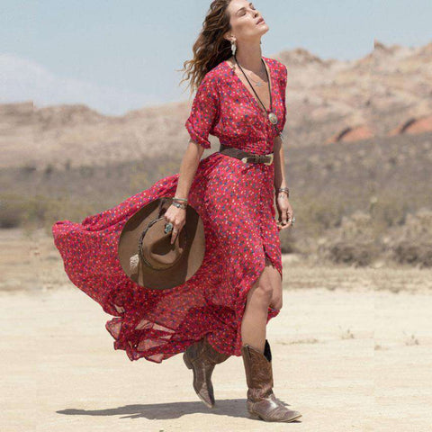 Boho Chiffon Casual V-Neck Floral Party Beach Long Maxi Long Dress Red
