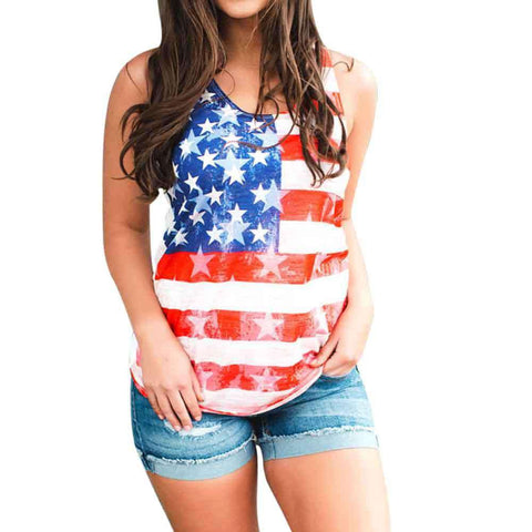 American Flag Printed Sleeveless Casual O-Neck Striped Stars Tops White
