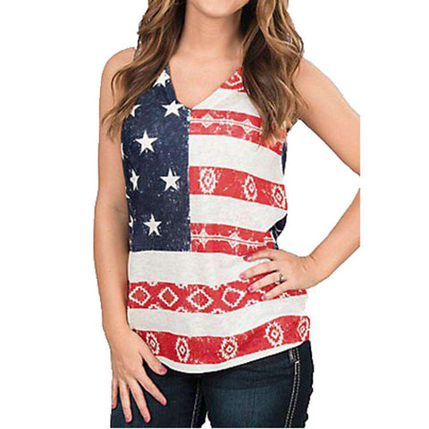 Flag Printed Women Sleeveless Deep V Neck Crop Tops T-Shirt Casual Red