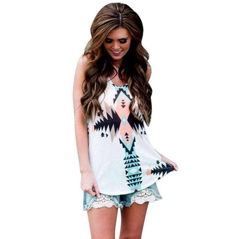 Geometric Printing Loose Sleeveless Tank Top White