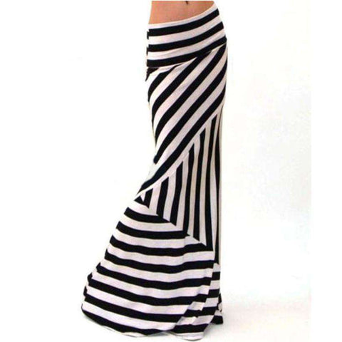 Asymmetric Striped Women Dropped Waist Long Maxi Skirt White