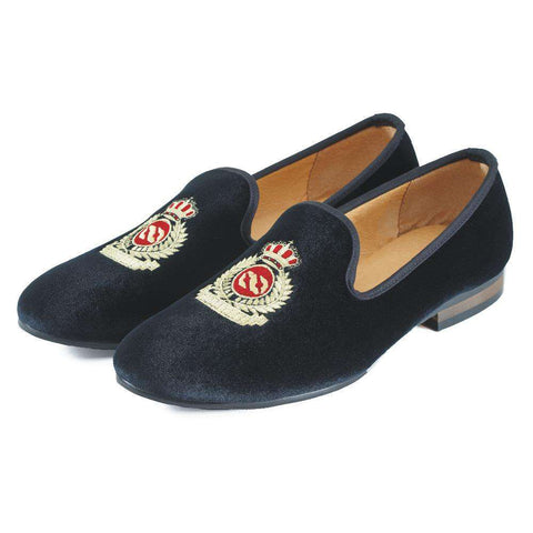 Men's Velvet Slip On Rubber Loafers With Crown