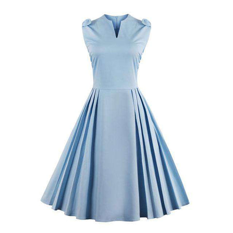 1950's Retro Sleeveless Blue A-Line V-Neck Vintage Party Dress Blue