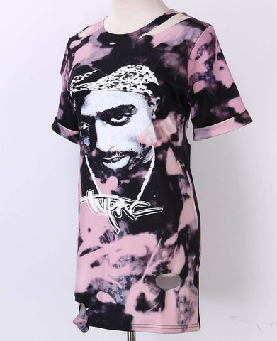 Club Retro Tupac Party Head Printed Holes Loose T-Shirt