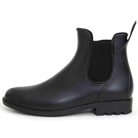 Men's Round Toe Slip On Soft Leather Boots Black
