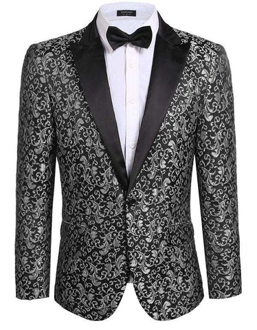 Fit Casual Floral Blazer Jacket with Long Sleeve