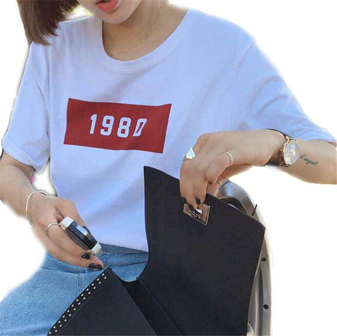 1980 Letter Print Short-Sleeve O-neck Casual T-shirt Women White