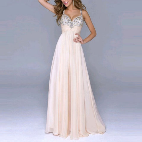 Chiffon Sleeveless Sequin Prom Ball Formal Gown Party Long Dress Pink