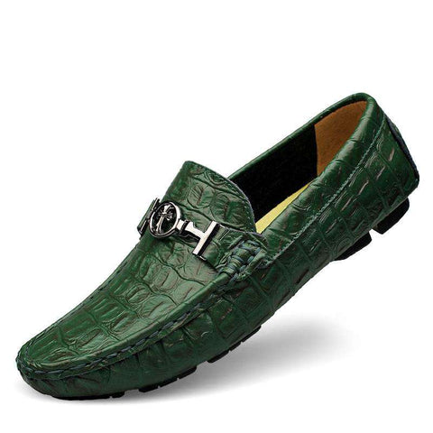 Alligator Leather Men's Handmade Flats Loafers Slip On