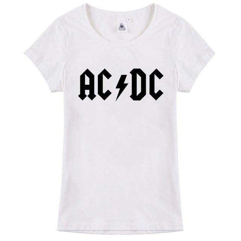 ACDC Letter Printed Short Sleeve O-Neck Women T-Shirt Black
