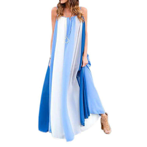 Boho Sleeveless Spaghetti Strap Striped Maxi Casual Beach Dress Blue